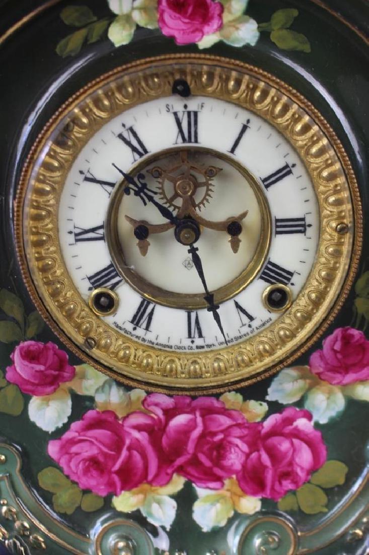 Royal Bonn Porcelain Clock with Ansonia Works - 2