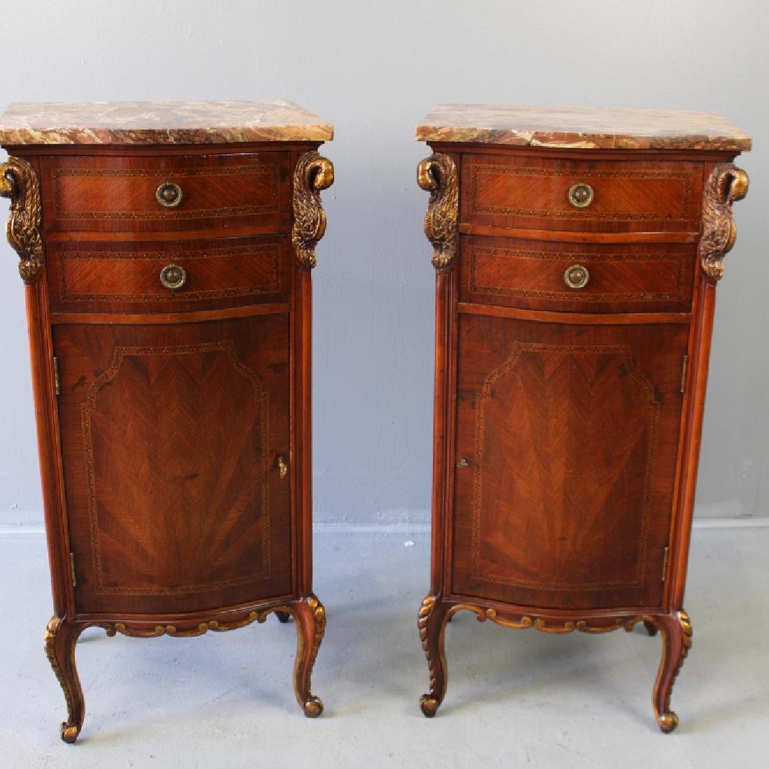 Pair Marble Top Parquetry Inlaid Cabinets