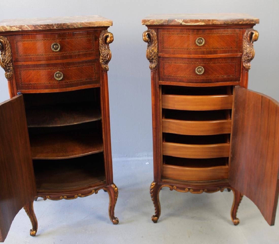 Pair Marble Top Parquetry Inlaid Cabinets - 3