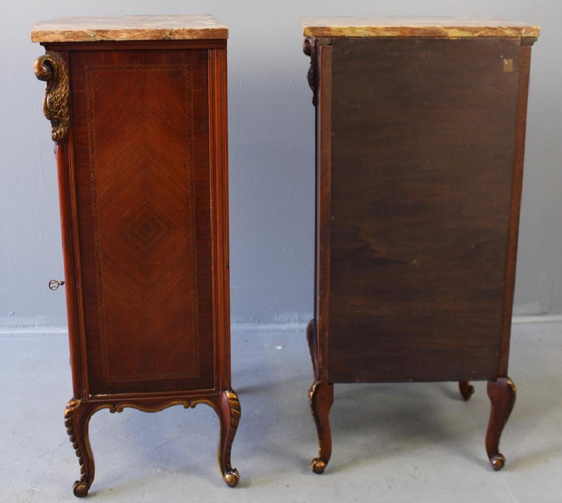 Pair Marble Top Parquetry Inlaid Cabinets - 6
