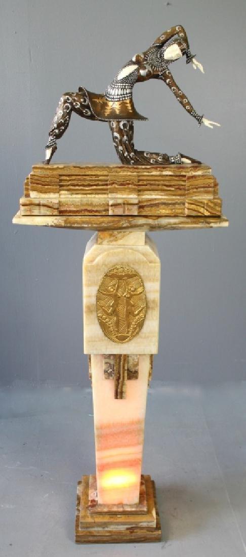 After D. H. Chiparus Art Deco Lady on Pedestal