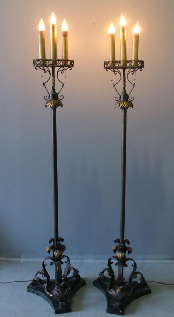 Pair of Wrought Iron Torchere Lamps