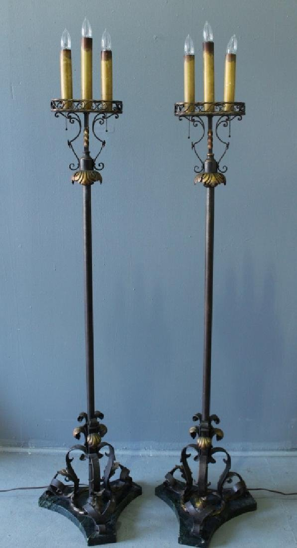 Pair of Wrought Iron Torchere Lamps - 2