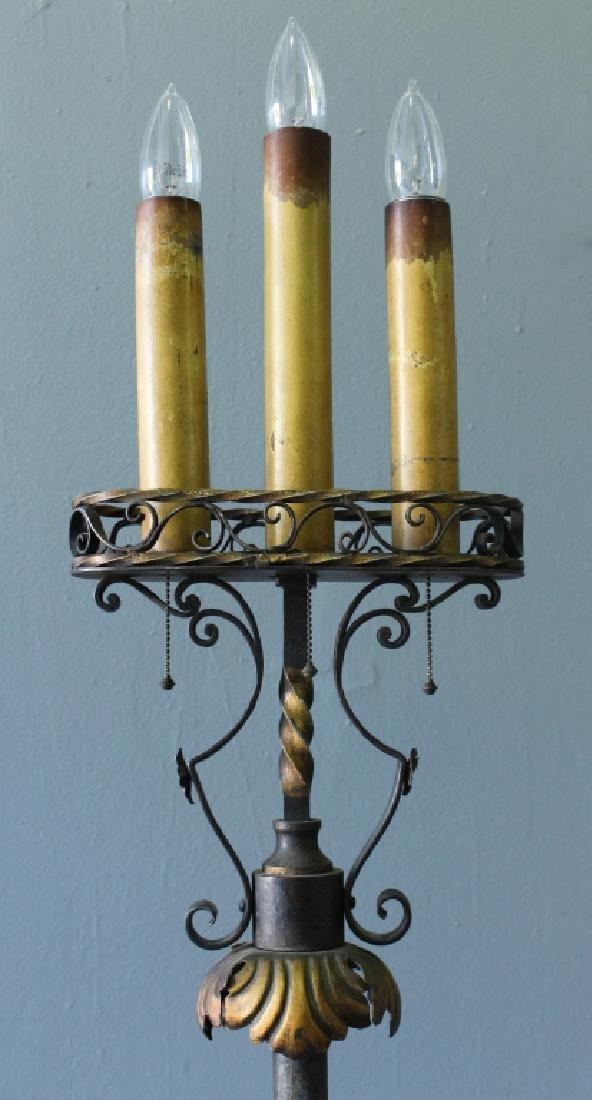 Pair of Wrought Iron Torchere Lamps - 3