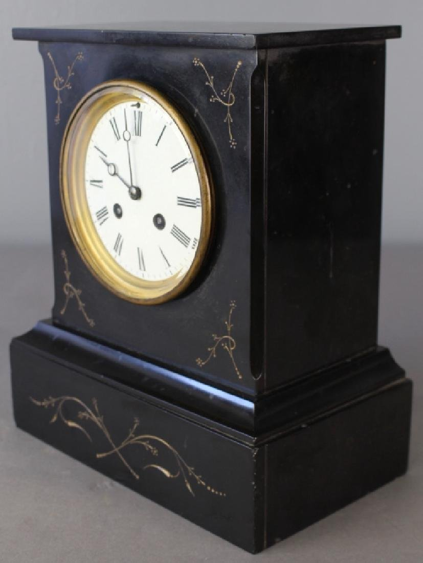 Japy Freres et Cie, French Black Marble Clock - 2