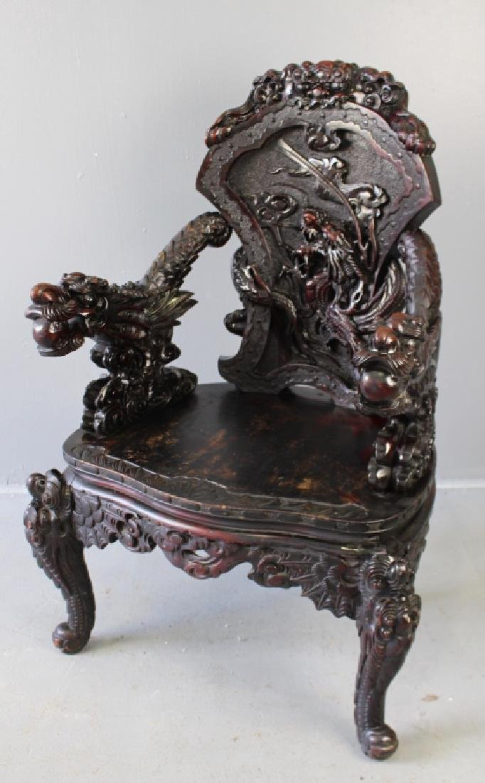 Chinese Carved Dragon Arm Chair