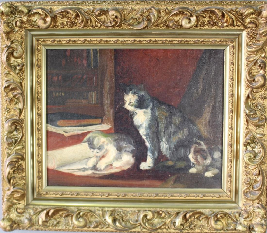 "Late 1800s Oil on Canvas ""Kittens & Mother Cat"""