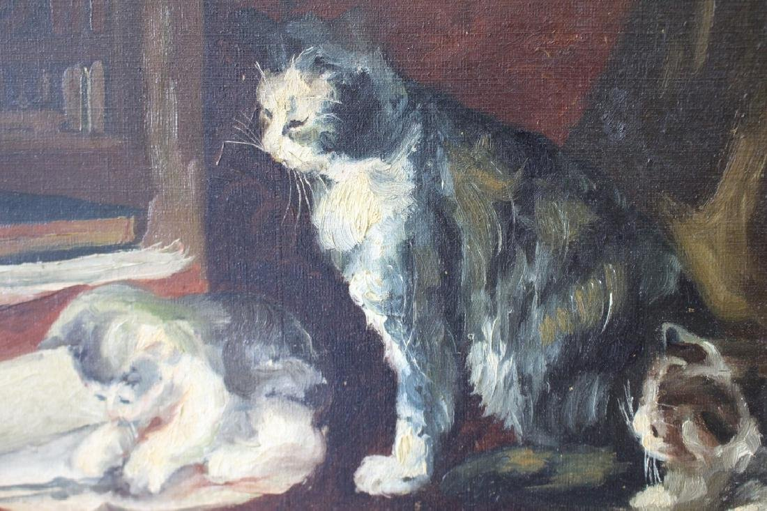 "Late 1800s Oil on Canvas ""Kittens & Mother Cat"" - 2"