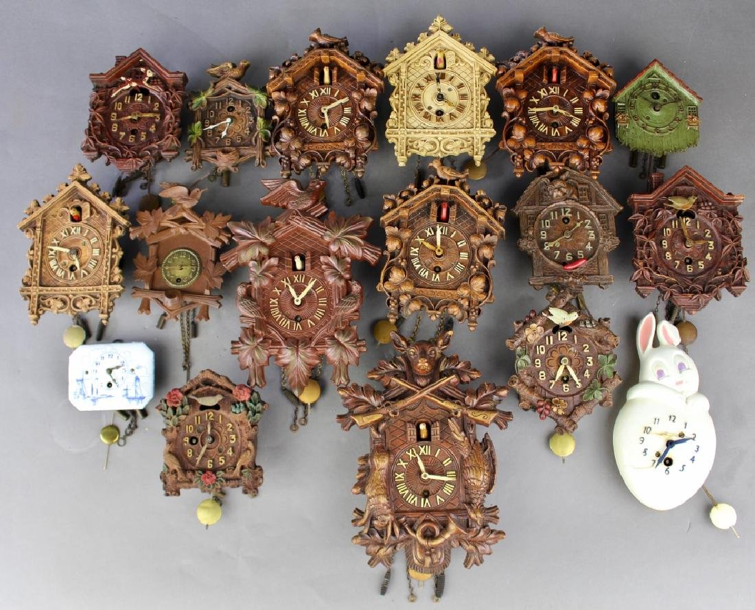 Collection of 17 Miniature Wall Clocks