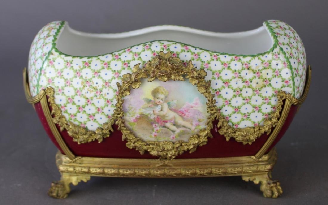 French Porcelain Fernier with Custom Stand