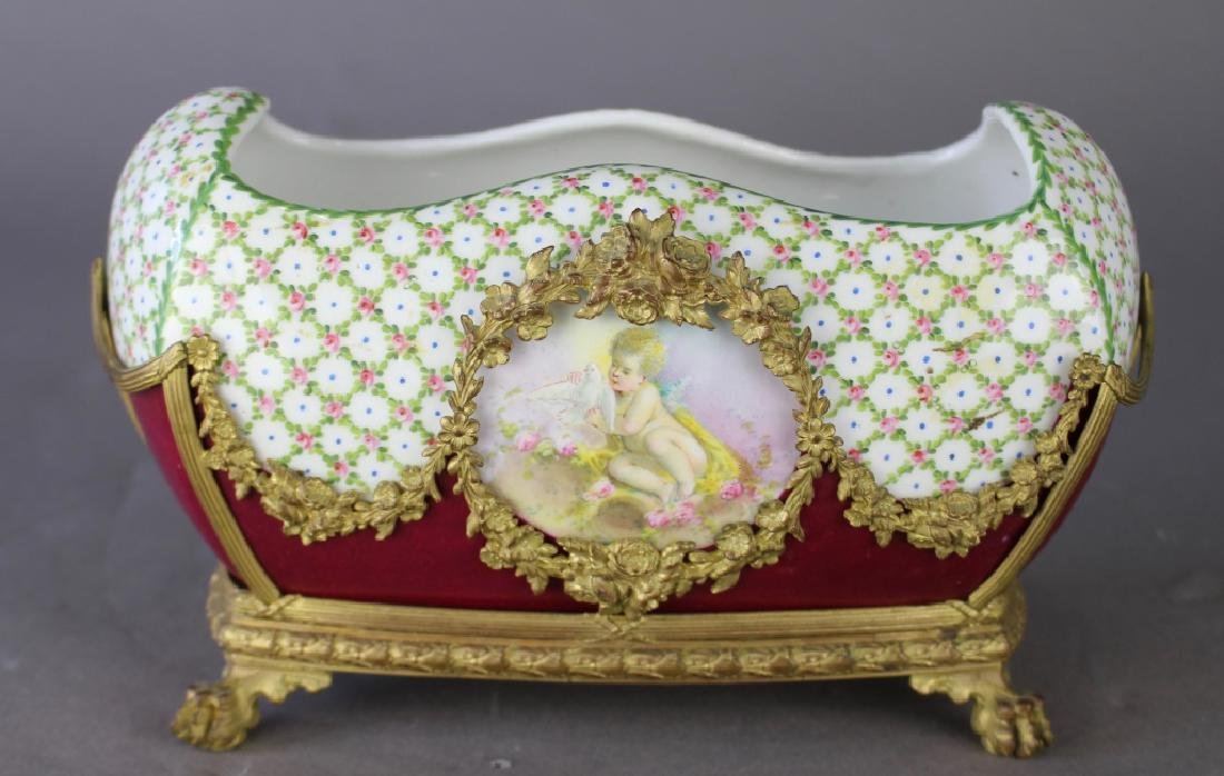 French Porcelain Fernier with Custom Stand - 2