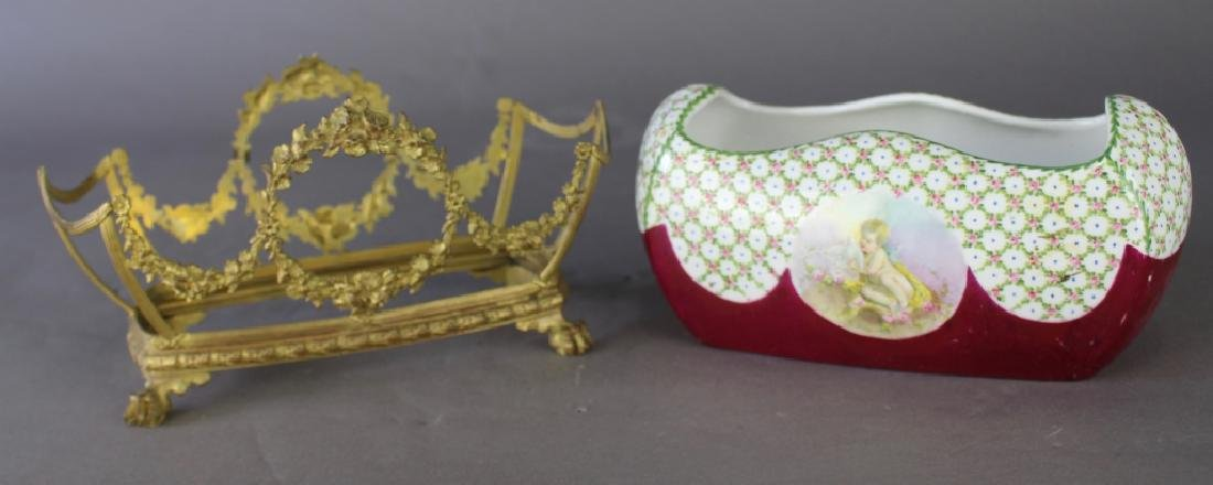 French Porcelain Fernier with Custom Stand - 3