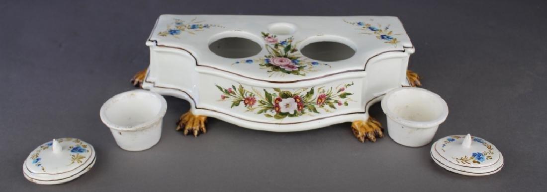 Italian Faience Porcelain Double Inkwell - 2