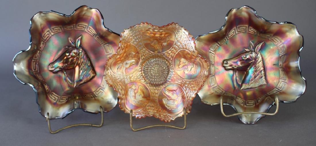 Three Carnival Glass Bowls