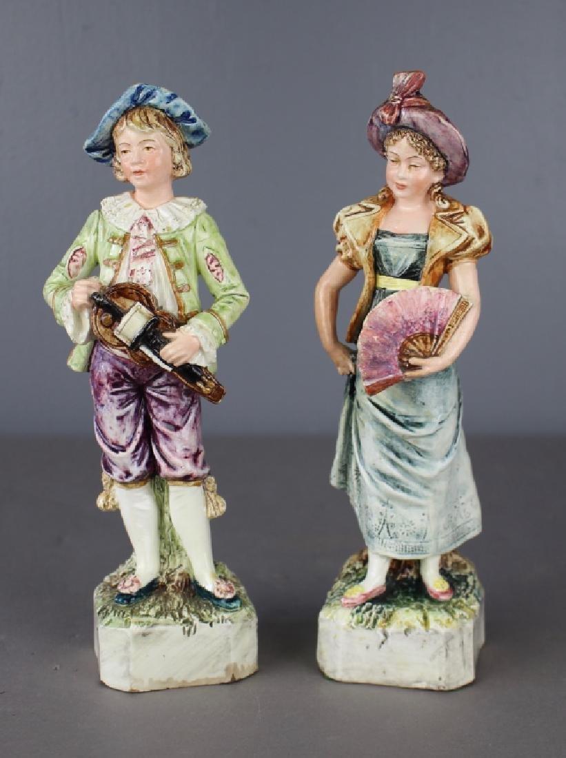 Pair of European Majolica Figurines