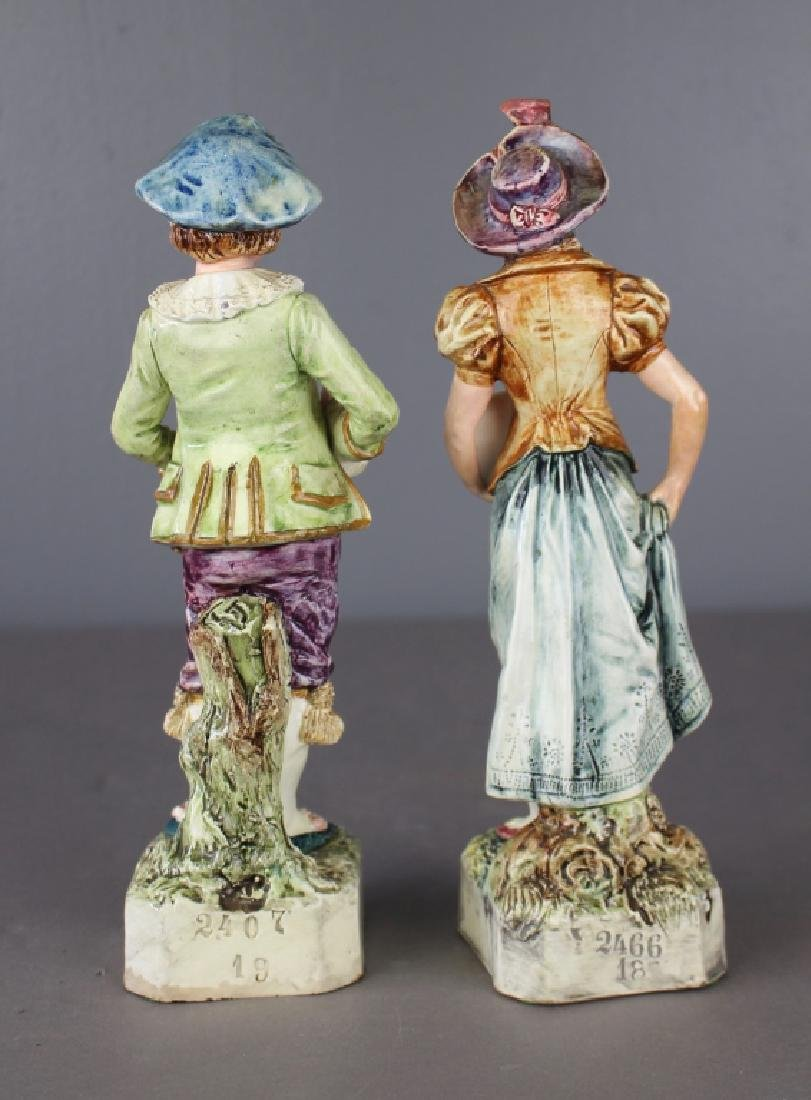 Pair of European Majolica Figurines - 2