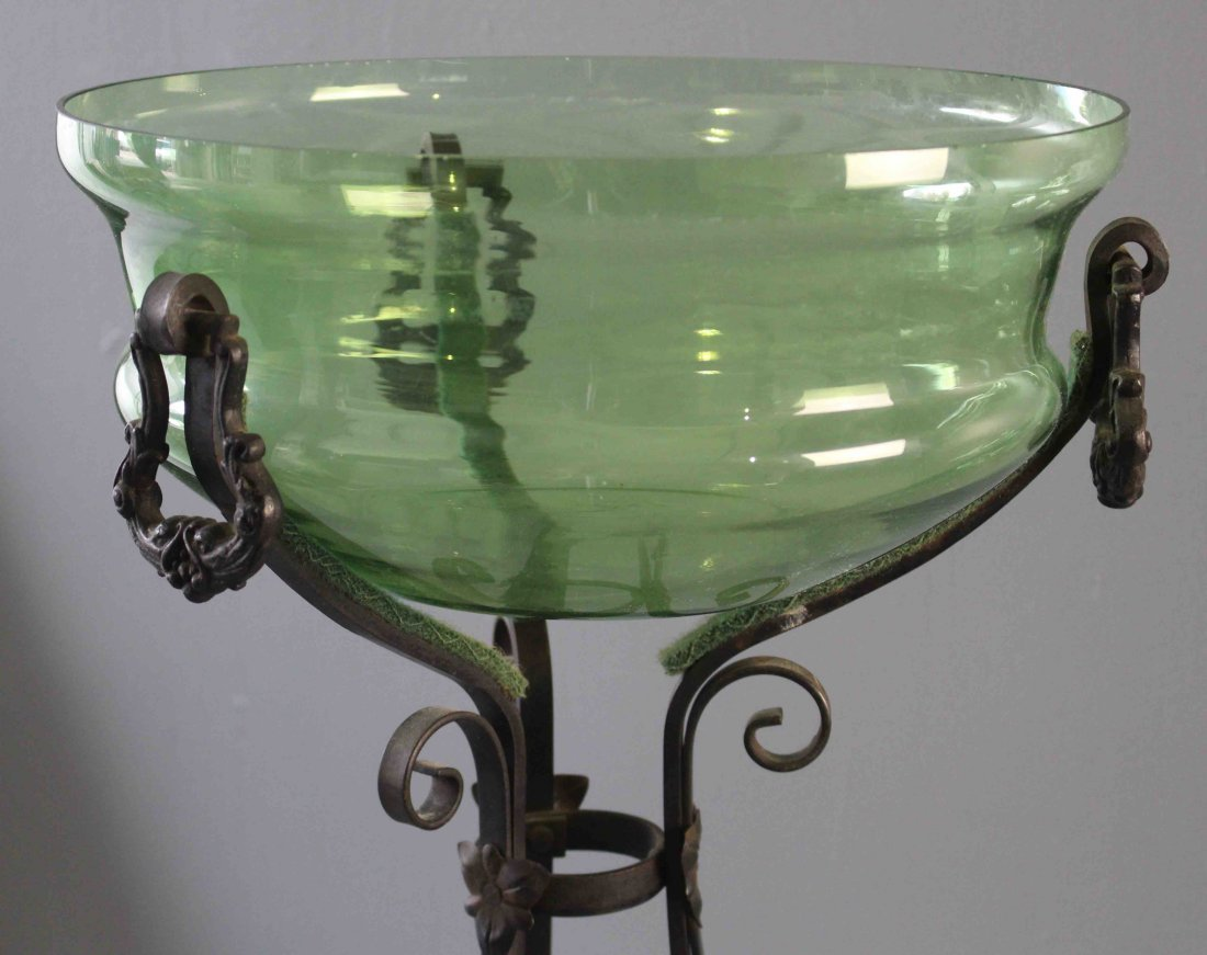 "Wrought Iron Stand with Green Glass ""Fish Bowl"" - 2"