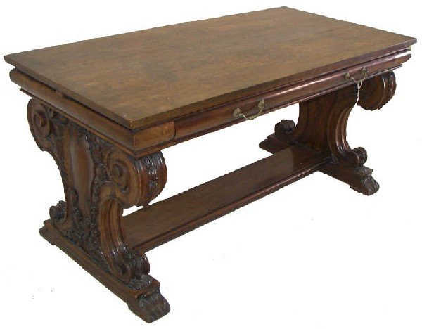 5: American burled walnut detail carved writing desk