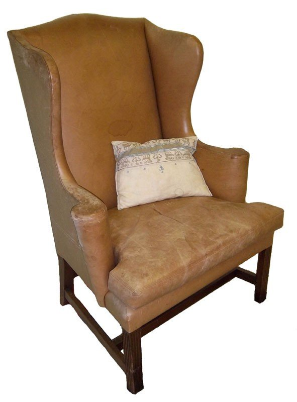 37: Early American Chippendale wing chair
