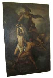 11: Late 18th C. artist signed allegorical oil on c.  7