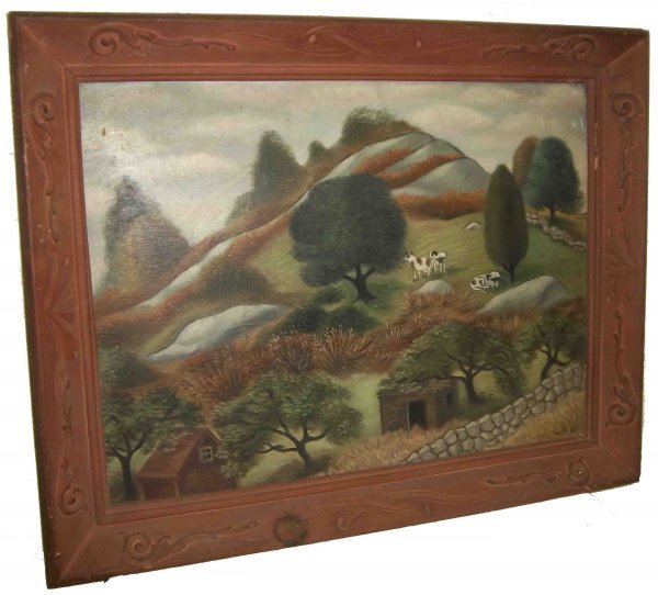 24: Period framed primative oil on canvas of farm & cow
