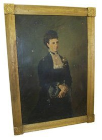 31: Rare period framed oil on canvas portrait of woman