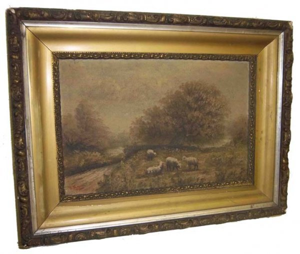 26: Period framed oil on canvas of sheep-J. Davis