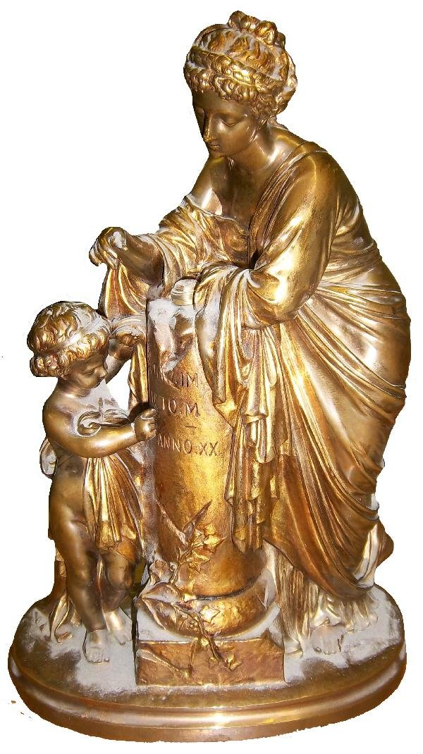 9: Signed 19th C. bronze of mother and child