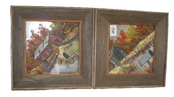 16: Pr. framed reverse painted landscapes on mirrors
