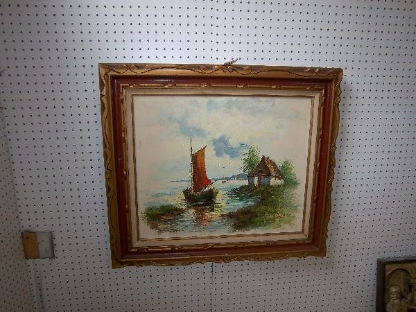 18: Painting of boat in water by house