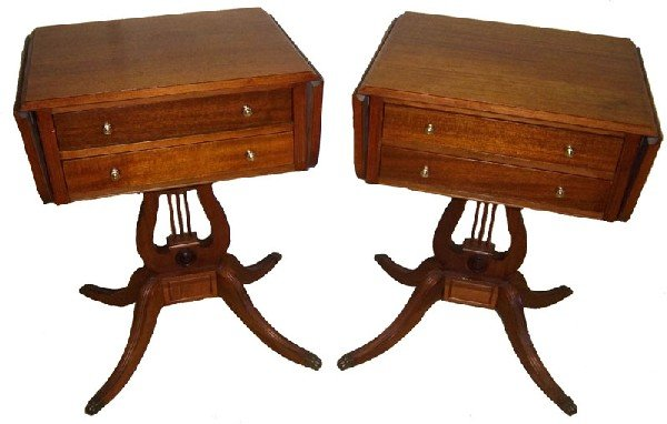 7: Pr. 20th C. mahogany drop side stands,lyre bases