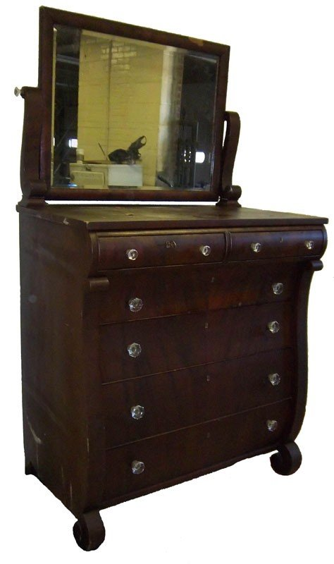 9: Large Empire mahogany chest with mirror