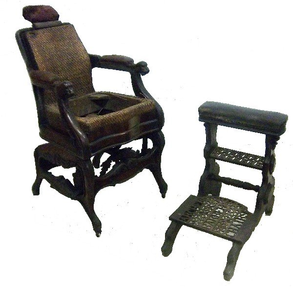 14: 19th C. signed Archer barber chair