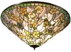 "398: 38"" diam. hanging dome made w/Tiffany glass"