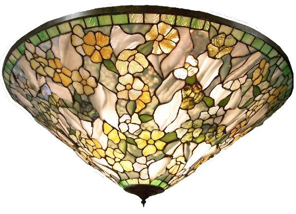 "398: 38"" diam. hanging dome made w/Tiffany glass"