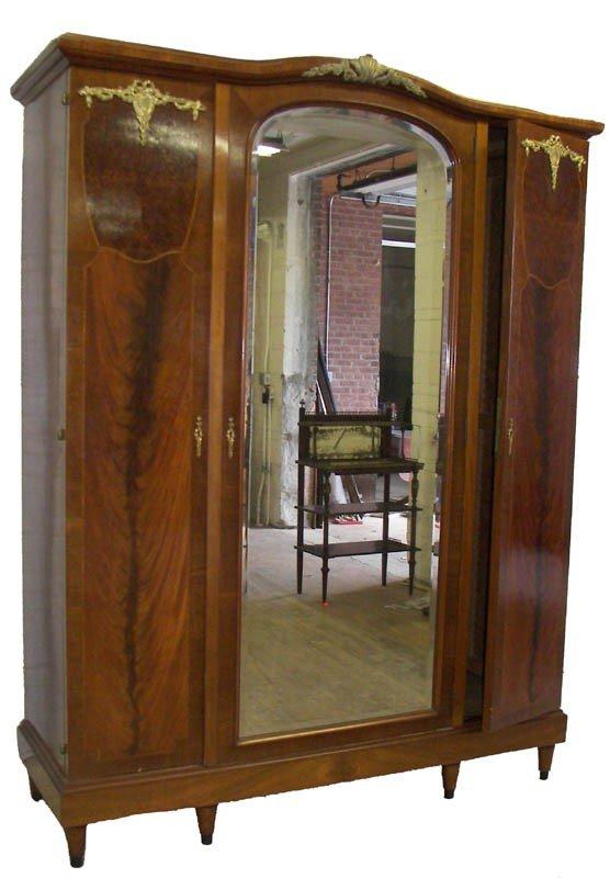 2: Ca. 1900 Fr. 3 door armoire w/bronze ormolu mts.