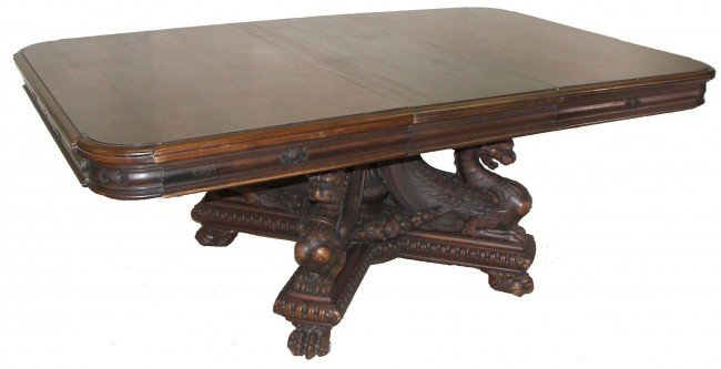 4: Victorian walnut dining table w/wing griffin base