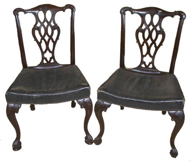7: Pr. 19th C. Irish Chippendale style side chairs