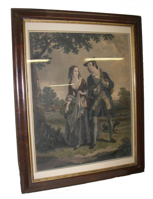 10: 19th C. hand colored steel engraving of couple
