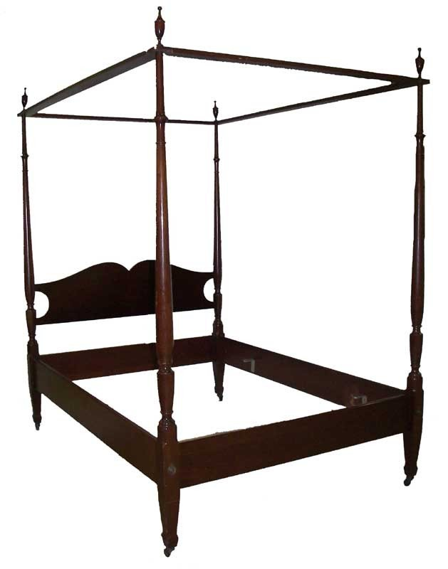 15: Chippendale style walnut full size canopy bed