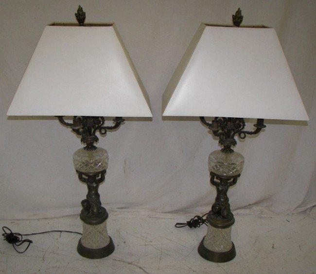 17: Pr. of Ca. 1910 figural cherub/cut glass lamps