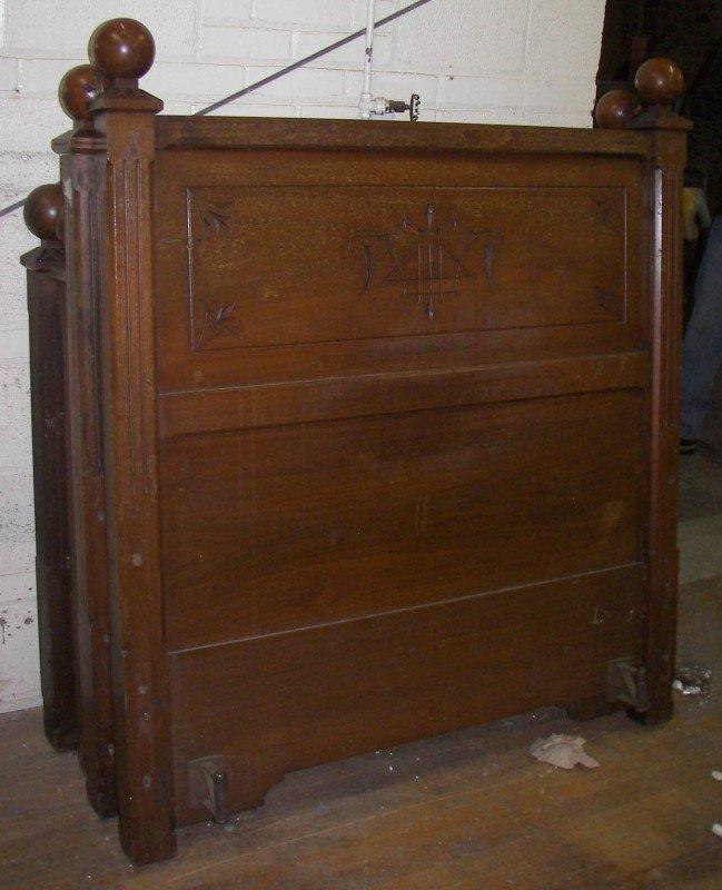20: Pr. of American Gothic walnut beds