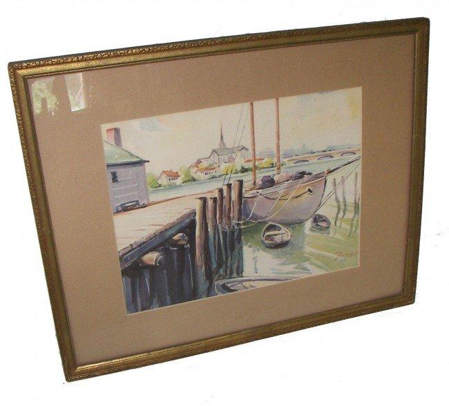 22: 20th C. framed print of sail boats/wharf