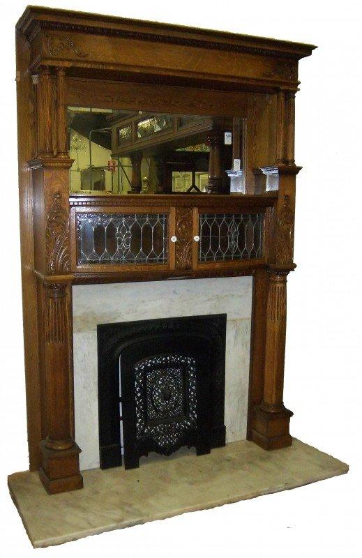 52: 19th C. American oak mantel w/marble surround