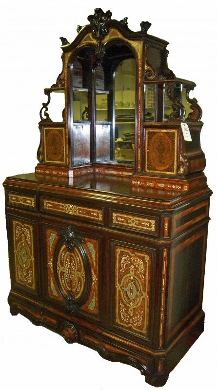 73A: ca. 1860 American rosewood cabinet w/inlay