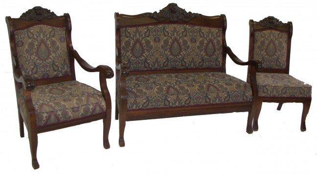 152: Ca. 1890 American mahogany 3 pc parlor set