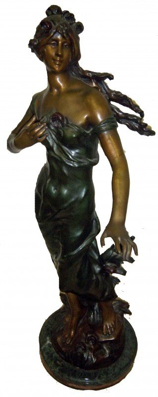 5: Bronze statue of woman sgd. Moreau Early 20th C. bro