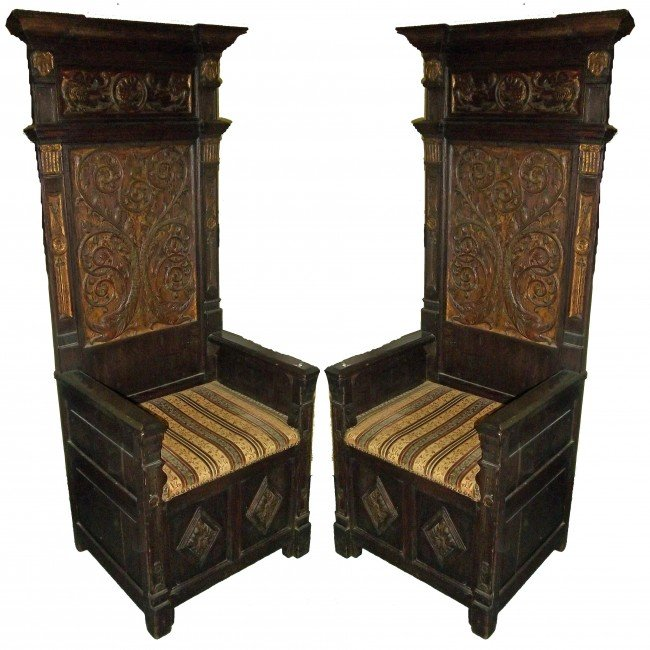 6: Period detailed carved gothic oak throne chairs Peri