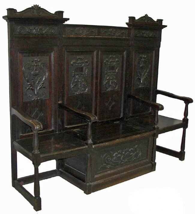 12: 19th C. Gothic lift top hall seat Unusual 5 part 19