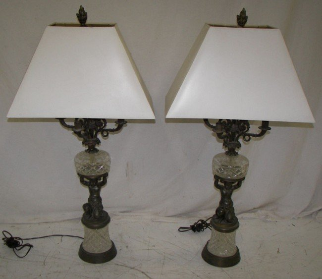 17: Pr. of Ca. 1910 figural cherub table lamps Pr. of C